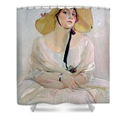 Portrait Of Raquel Meller Shower Curtain by Joaquin Sorolla y Bastida