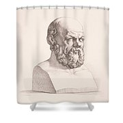 Portrait of Socrates Shower Curtain by CC Perkins