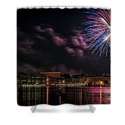 Portsmouth Nh Fireworks 2013 Shower Curtain by Scott Thorp