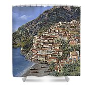Positano E La Torre Clavel Shower Curtain by Guido Borelli