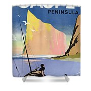 Poster Advertising The Gaspe Peninsula Quebec Canada Shower Curtain by Canadian School