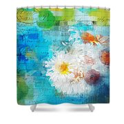Pot Of Daisies 02 - J3327100-bl1t22a Shower Curtain by Variance Collections