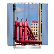 Potsdamer Platz Pink Pipes In Berlin Shower Curtain by Ben and Raisa Gertsberg