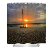 powder-white sand of Seven Mile Beach Shower Curtain by Dan Friend