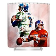 Power Force John Elway Shower Curtain by Iconic Images Art Gallery David Pucciarelli