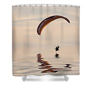 Powered Paraglider Shower Curtain by John Edwards