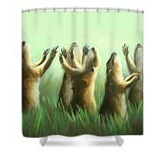 Praising Prairie Dogs Shower Curtain by Anthony Falbo