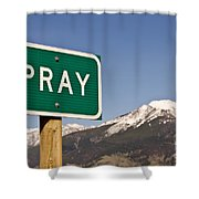 Pray Shower Curtain by Sue Smith