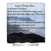 Prayer Of St Francis Of Assisi Shower Curtain by Sharon Elliott