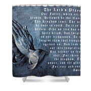 Praying Hands Lords Prayer Shower Curtain by Albrecht Durer