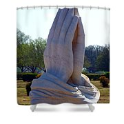 Praying Hands Statue Shower Curtain by David G Paul
