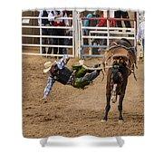 Prescott Rodeo 2014  Shower Curtain by Jon Berghoff