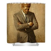 President John F. Kennedy Official Portrait By Aaron Shikler Shower Curtain by Movie Poster Prints
