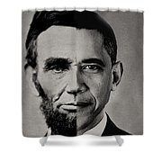 President Obama Meets President Lincoln Shower Curtain by Doc Braham