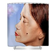 Profile Of A Filipina Beauty With A Mole On Her Cheek Altered Version Shower Curtain by Jim Fitzpatrick