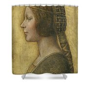 Profile Of A Young Fiancee Shower Curtain by Leonardo Da Vinci