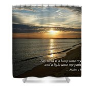 Psalm 119-105 Your Word Is A Lamp Shower Curtain by Susan Savad