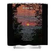 Psalm 23 Prayer Over Sunset Landscape Shower Curtain by Christina Rollo