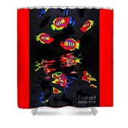 Psychedelic Flying Fish With Psychedelic Reflections Shower Curtain by Kaye Menner
