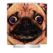 Pug Dog - Painterly Shower Curtain by Wingsdomain Art and Photography
