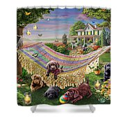 Puppies And Butterflies Shower Curtain by Adrian Chesterman