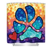 Puppy Love - Colorful Dog Paw Art By Sharon Cummings Shower Curtain by Sharon Cummings