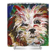Puppy Spirit 101 Shower Curtain by Linda Mears