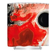 Pure Passion - Red And Black Art Painting Shower Curtain by Sharon Cummings