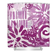 Purple Garden - Contemporary Abstract Watercolor Painting Shower Curtain by Linda Woods