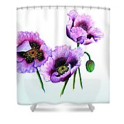 Purple Oriental Poppies Shower Curtain by Karin  Dawn Kelshall- Best