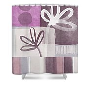 Purple Patchwork- Contemporary Art Shower Curtain by Linda Woods