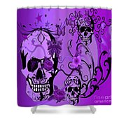 Purple Skulls Shower Curtain by M and L Creations
