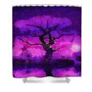 Purple tree of life Shower Curtain by Pixel Chimp