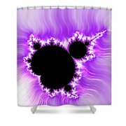 Purple White And Black Mandelbrot Set Digital Art Shower Curtain by Matthias Hauser