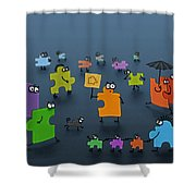 Puzzle Family Shower Curtain by Gianfranco Weiss