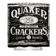 Quaker Crackers Rustic Sign For Kitchen In Black And White Shower Curtain by Lisa Russo