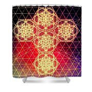 Quantum Cross Hand Drawn Shower Curtain by Jason Padgett