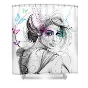 Queen Of Butterflies Shower Curtain by Olga Shvartsur
