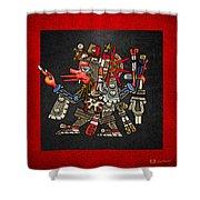 Quetzalcoatl In Human Warrior Form - Codex Borgia Shower Curtain by Serge Averbukh