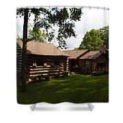 quiet cabin on a hill Shower Curtain by Robert Margetts