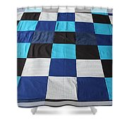 Quilt Blue Blocks Shower Curtain by Barbara Griffin