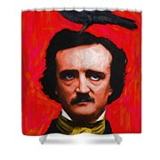 Quoth The Raven Nevermore - Edgar Allan Poe - Painterly - Red - Standard Size Shower Curtain by Wingsdomain Art and Photography