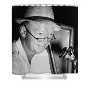 Radio Broadcaster Red Barber 1955 Shower Curtain by Mountain Dreams