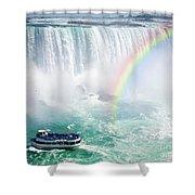 Rainbow And Tourist Boat At Niagara Falls Shower Curtain by Elena Elisseeva