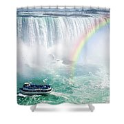 Rainbow and tourist boat at Niagara Falls Shower Curtain by Elena Elisseeva