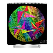 Rainbow Bliss Pinwheels Baseball Square Shower Curtain by Andee Design