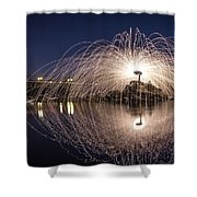Rainbow Bridge Halo Shower Curtain by Lee Harland