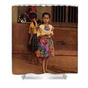 Rainbow Dress. Indian Collection Shower Curtain by Jenny Rainbow