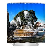 Rainbow In The Jc Nichols Memorial Fountain Shower Curtain by Andee Design