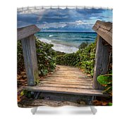 Rainbow Over The Ocean Shower Curtain by Debra and Dave Vanderlaan